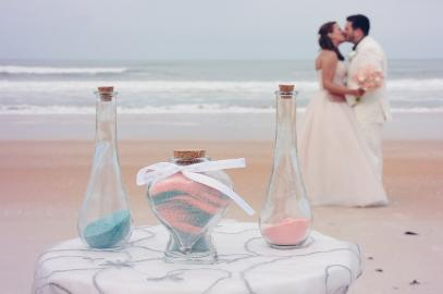Sand Ceremony Engraved Heart Vase Kathryn & Michael Ormond Beach